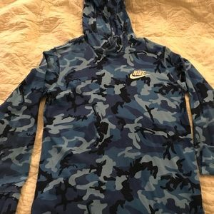 Nike Shirts & Tops - Nike Camouflage Jersey Hoodie Blue youth XL